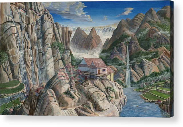 Chinese Landscape Acrylic Print featuring the painting Chinese Dreamscape by Anthony Lyon