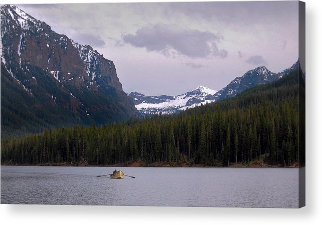 Lake Acrylic Print featuring the photograph Hyalite Lake Rower by Ed Golden