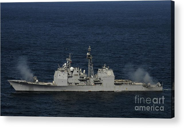 Side View Acrylic Print featuring the photograph Uss Bunker Hill Fires Two Mk-45 5 by Stocktrek Images