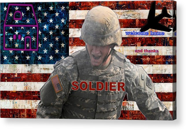 Soldier Acrylic Print featuring the digital art Welcome Home by Terri Mertz