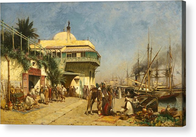 Alfred Wordsworth Thompson Acrylic Print featuring the painting The Port Of Algiers by Alfred Wordsworth Thompson