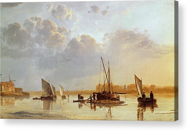Boats On A River Acrylic Print featuring the painting Boats On A River by Aelbert Cuyp