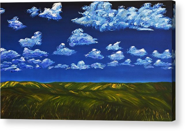 Kansas Acrylic Print featuring the painting Clouds And Grass Field by Gregory Allen Page