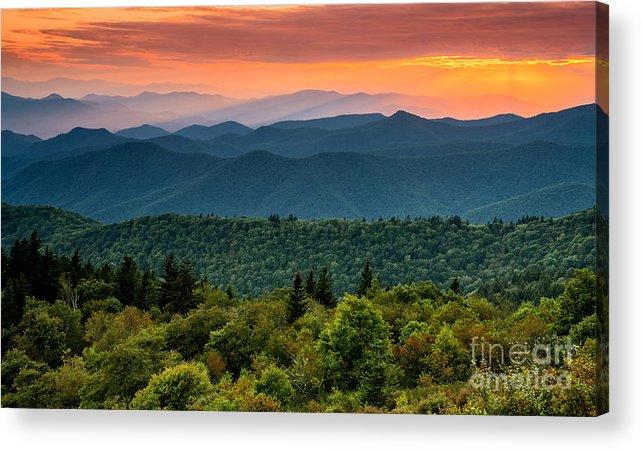 Cowee Mountain Acrylic Print featuring the photograph Cowee Sunset. by Itai Minovitz