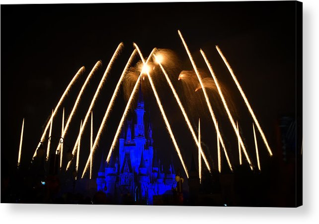 Disney Acrylic Print featuring the photograph Disney Castle Fireworks by Dick Hudson