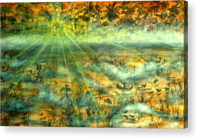 Mist Acrylic Print featuring the painting Everglades Morning Mist by Ana Bikic