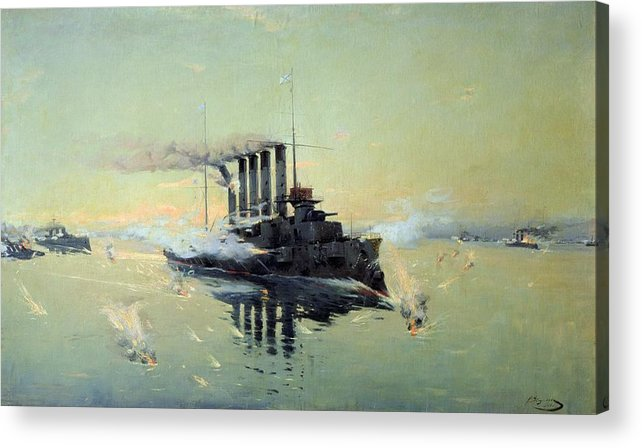 Cruiser Acrylic Print featuring the painting Fighting On July In The Yellow Sea by Konstantin Veshchilov