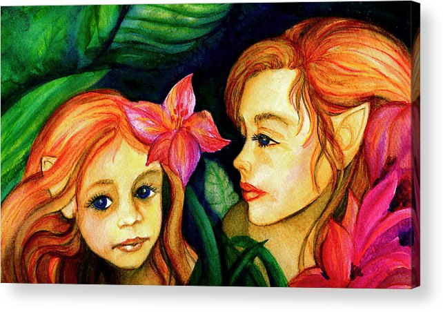 Fairies Acrylic Print featuring the painting In The Woods by L Lauter