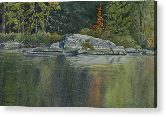 Water Acrylic Print featuring the painting Lone Red Tree by Debbie Homewood