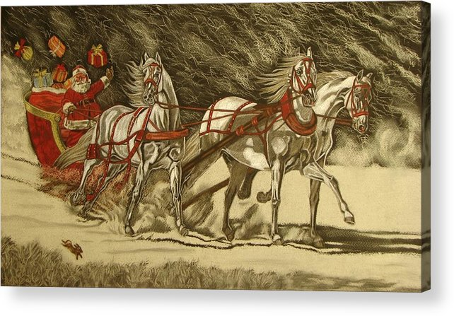 Horse Acrylic Print featuring the drawing Magical Christmas by Melita Safran