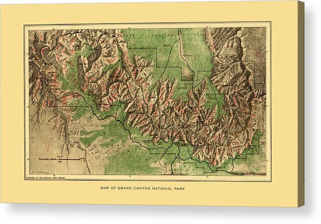 Grand Canyon Acrylic Print featuring the photograph Map Of Grand Canyon 1926 by Andrew Fare