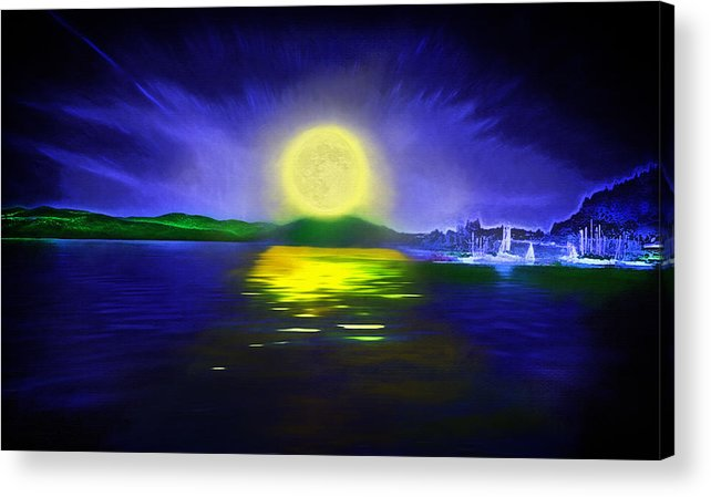 Couer D' Alene; Idaho; Lakes; Water; Night; Nighttime; Moonlight; Moonlit; Full Moon Acrylic Print featuring the photograph Marina Moonrise by Steve Ohlsen