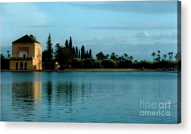 Impressionism Acrylic Print featuring the photograph Menara Gardens Of Morocco by Linda Parker