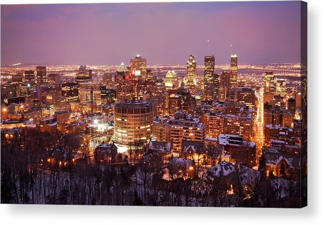 Montreal Acrylic Print featuring the photograph Montreal City Lights by Pierre Leclerc Photography