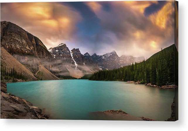 America Acrylic Print featuring the photograph More Rain At Moraine Lake by William Freebilly photography