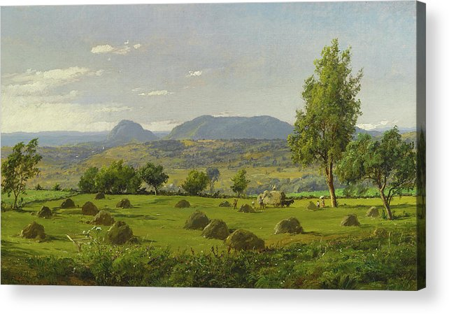 Jasper Francis Cropsey Acrylic Print featuring the painting Mount Adam And Eve. Haymaking by Jasper Francis Cropsey