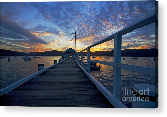 Palm Beach Sydney Wharf Sunset Dusk Water Pittwater Acrylic Print featuring the photograph Palm Beach Wharf At Dusk by Sheila Smart Fine Art Photography