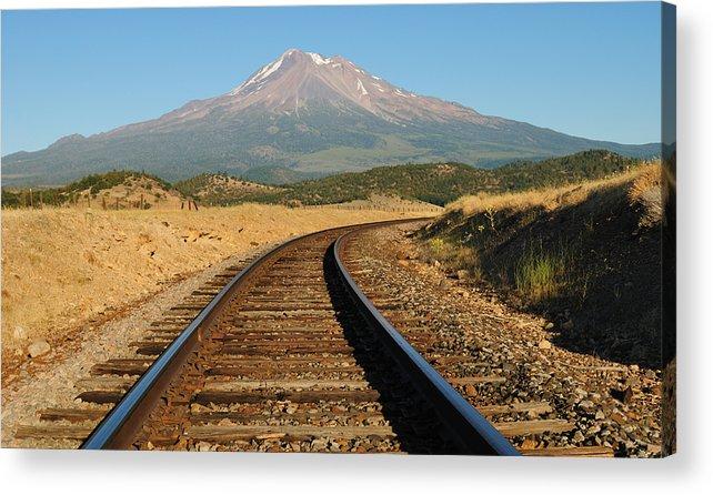 Loree Johnson Acrylic Print featuring the photograph Railroad To The Mountain by Loree Johnson