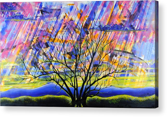 Sunset Acrylic Print featuring the painting Rays Of Life by Rollin Kocsis