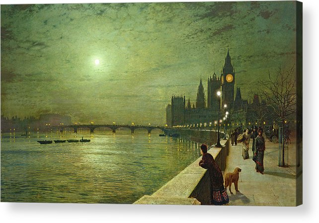 Reflections On The Thames Acrylic Print featuring the painting Reflections On The Thames by John Atkinson Grimshaw