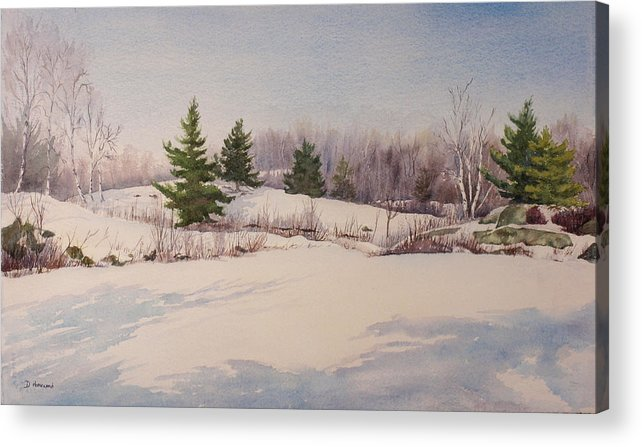 Shadows Acrylic Print featuring the painting Shadows On Snow In The Canadian Shield by Debbie Homewood
