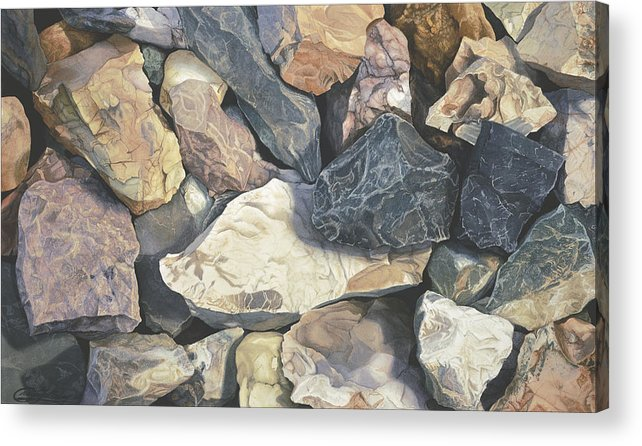 Stones Acrylic Print featuring the painting Square One by Craig Gallaway