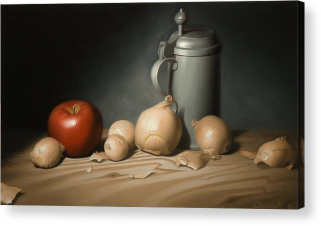 Still Life Painting Acrylic Print featuring the painting Still Life Painting With Onions by Eric Bossik