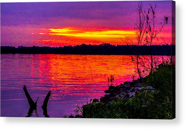 Crab Orchard Lake National Wildlife Refuge Acrylic Print featuring the photograph Sunset On Crab Orchard by Jeff Kurtz