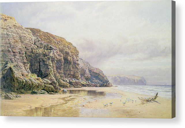 Coast Acrylic Print featuring the painting The Coast Of Cornwall by John Mogford