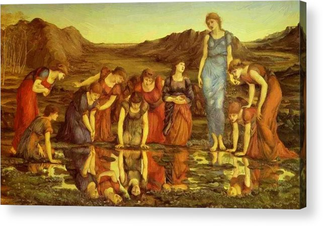 The Acrylic Print featuring the painting The Mirror Of Venus by BurneJones Edward