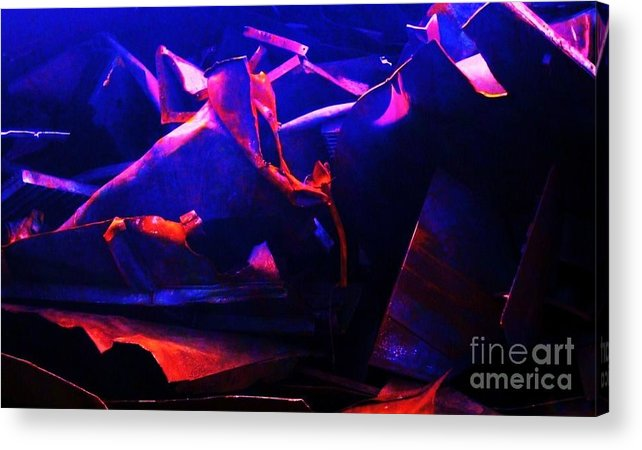 Twisted Metal Blue Red Scrap Rust Acrylic Print featuring the photograph Twisted Metal by Reb Frost