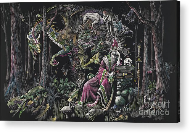 Dragon Acrylic Print featuring the drawing When Wizards Dream by Stanley Morrison