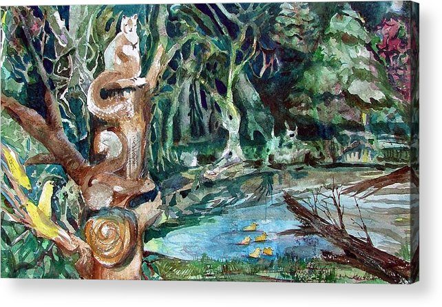 Squirrels Acrylic Print featuring the painting Woodland Critters by Mindy Newman