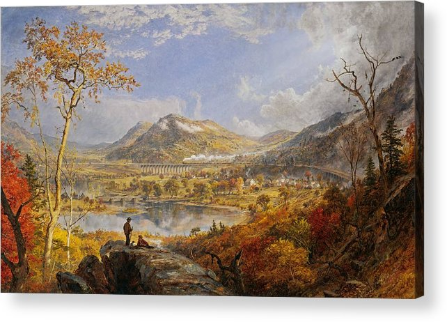 Starrucca Viaduct Acrylic Print featuring the painting Starrucca Viaduct, Pennsylvania by Jasper Francis Cropsey