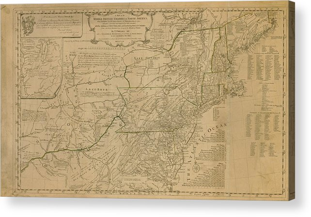 Map Of United States In 1776 Including Acrylic Print by Historic Map ...