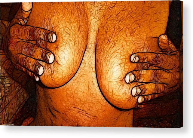 Nipple Acrylic Print featuring the painting Nipple Squeeze by Shan Peck
