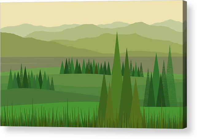 After The Rain Acrylic Print featuring the digital art After The Rain - Serene Green by Val Arie