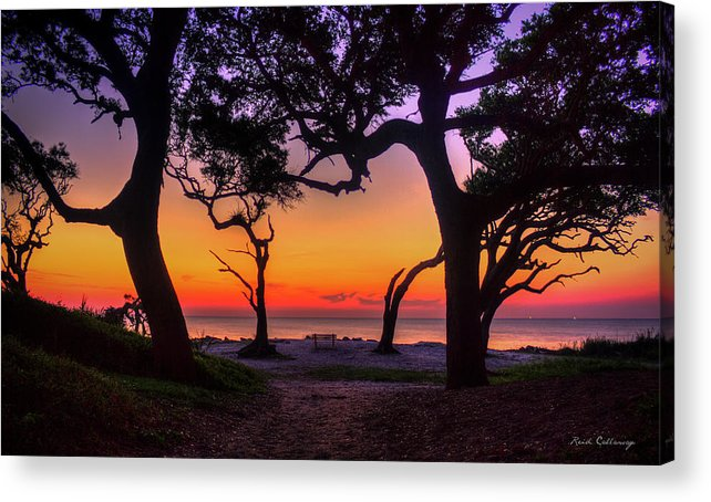 Reid Callaway The View Point Acrylic Print featuring the photograph Sit With Me Driftwood Beach Sunrise Jekyll Island Georgia by Reid Callaway