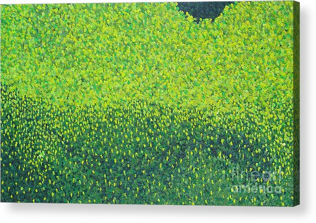Abstract Acrylic Print featuring the painting Soft Green Wet Trees by Dean Triolo