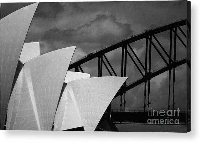 Sydney Opera House Acrylic Print featuring the photograph Sydney Opera House With Harbour Bridge by Sheila Smart Fine Art Photography