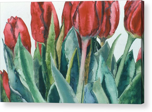 Floral Acrylic Print featuring the painting Mini-valentine Tulips - 2 by Caron Sloan Zuger
