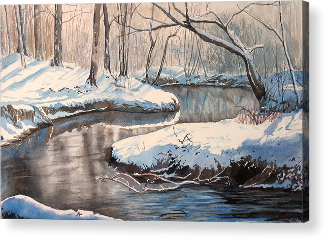Snow Acrylic Print featuring the painting Snow On Riverbank by Debbie Homewood