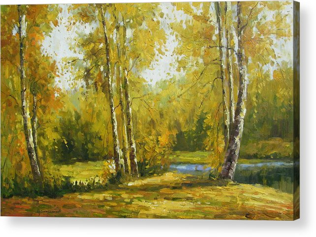 Landscape Acrylic Print featuring the painting Cariboo Gold by Imagine Art Works Studio