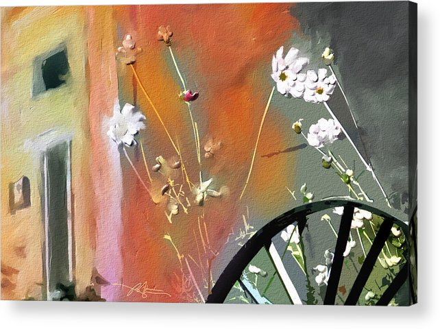 Floral Acrylic Print featuring the painting Kensington Market Floral Detail by Bob Salo