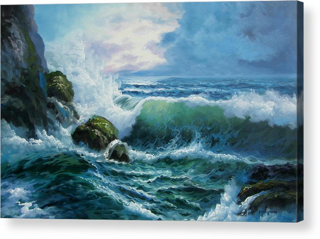 Seascape Acrylic Print featuring the painting Rocky Coast by Imagine Art Works Studio