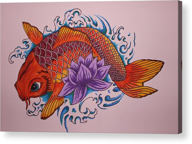 Koi Fish Acrylic Print featuring the painting New Beginnings by Kat Starr