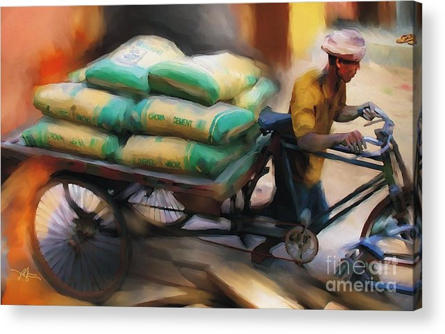 Bangladesh Acrylic Print featuring the painting Cement Runner by Bob Salo