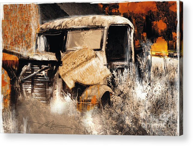 Truck Acrylic Print featuring the painting Life Is A Highway by Bob Salo