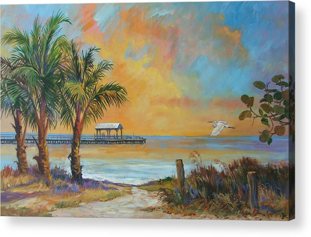 Beach Acrylic Print featuring the painting Sunset Flight by Dianna Willman