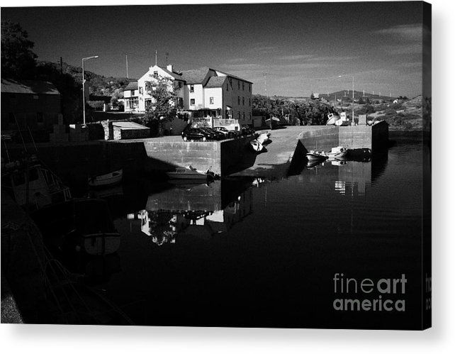 County Acrylic Print featuring the photograph bunbeg house guesthouse in bunbeg harbour and clady river gweedore bay county Donegal Republic of Ireland by Joe Fox
